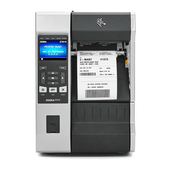 ZT61043-T0A01C0Z Impresora Industrial RFID Zebra ZT610 300dpi Frontal en Proceso de Impresion