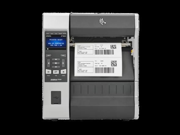 ZT62062-T2A0100Z Impresora Industrial Zebra ZT620 203dpi - Rebobinador Frontal en Proceso de Impresion
