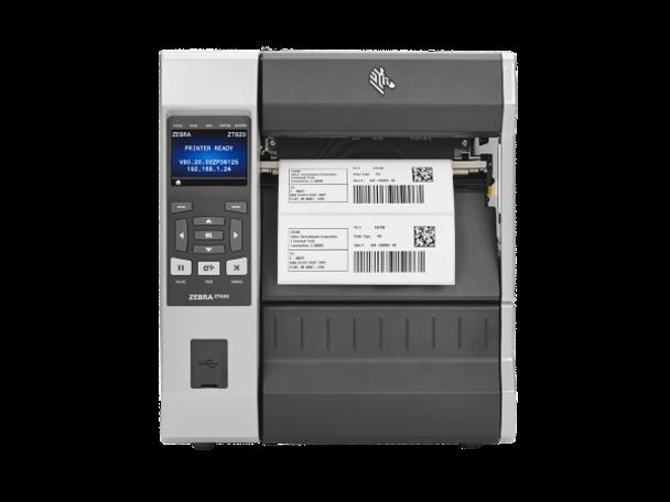 ZT62062-T050100Z Impresora Industrial Zebra ZT620 203dpi Frontal en Proceso de Impresion