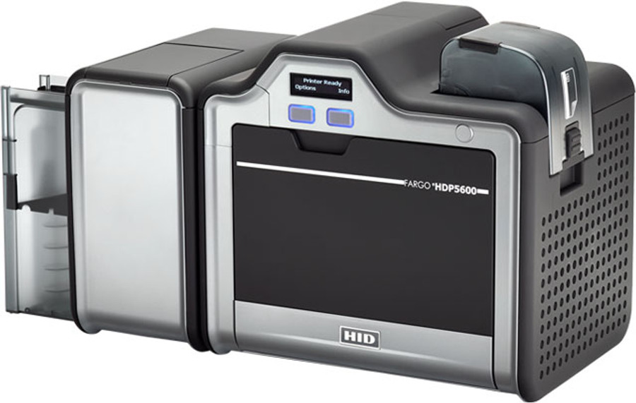 93227 Impresora de Tarjetas de Identificacion Fargo HDP5600 300dpi Simplex USB MSW ISO, Smart Card iCLASS & HID PROX Omnikey 5127 Laminacion Simplex
