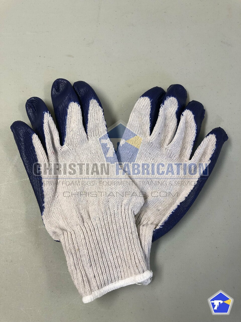 Blue Latex Rubber Coated Fingers & Palm Work Gloves (Size Med/Large) 12 Pairs
