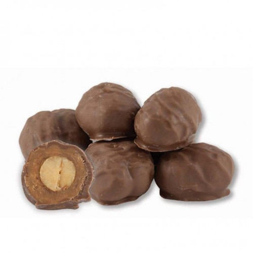 Creamy milk chocolate and peanut butter covered peanuts
