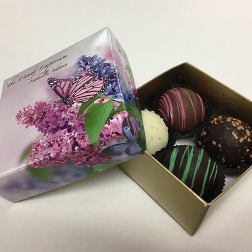 4 Piece Dessert Truffles - Butterfly box with Ribbon