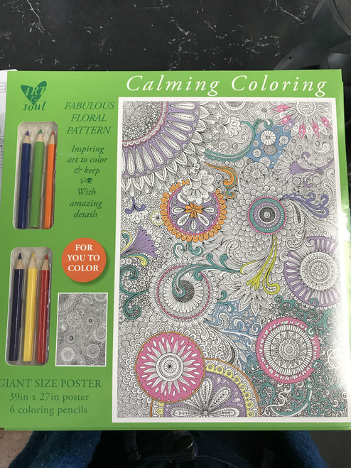 Calming Coloring Fabulous Floral Pattern Poster w/Colored Pencils