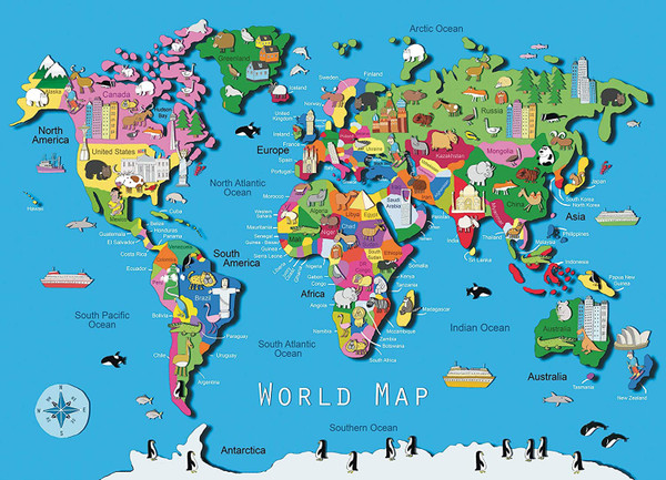 World Map 60 pc. Puzzle