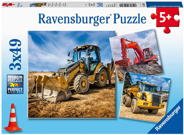 Diggers at Work 3 x 49 pc. Puzzle