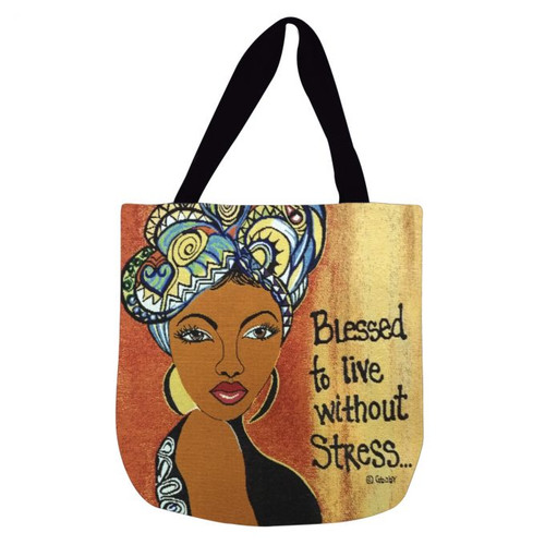 Blessed To Live Without Stress Woven Tote Bag