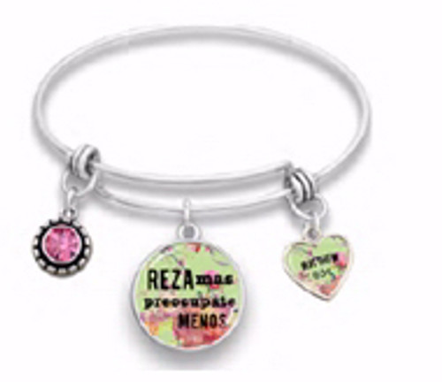 Span-Bracelet-Wire Bangle-Pray More Worry Less-7.5""