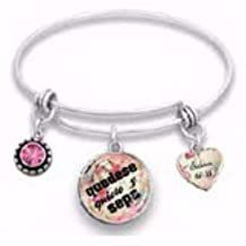 """Span-Bracelet-Wire Bangle-Be Still and Know-7.5"""" (Spanish)"""