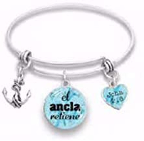"""Span-Bracelet-Wire Bangle-The Anchor Holds-7.5"""" (Spanish)"""