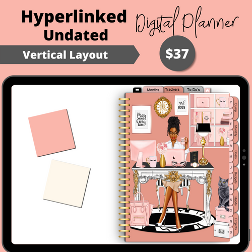 Girl Boss Undated Hyperlinked Digital Planner