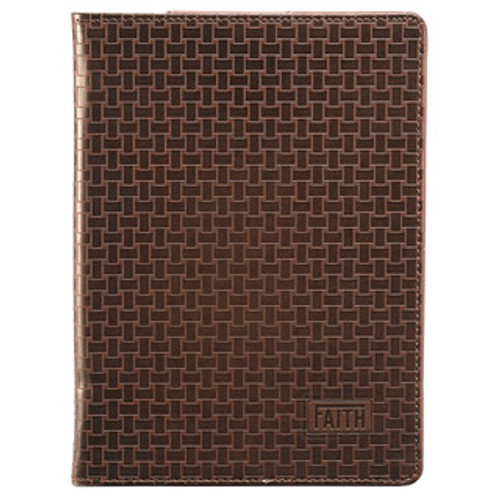 "BROWN BASKETWEAVE ""FAITH"" INSPIRATIONAL COVER FOR KINDLE FIRE"