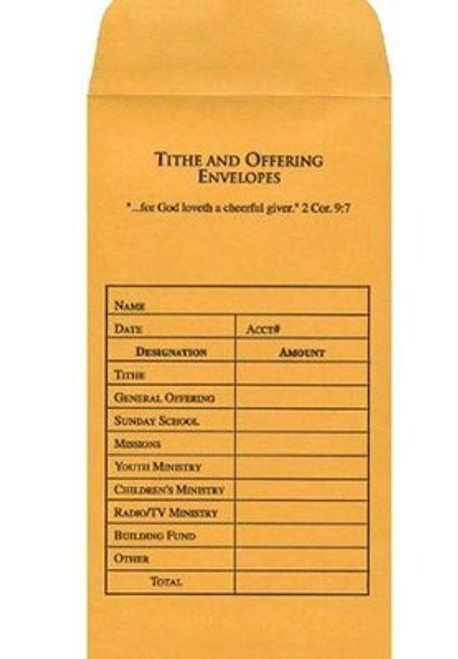 Offering Envelope-Tithe & Offering (Bill-Size)-Goldenrod (Pack Of 100)