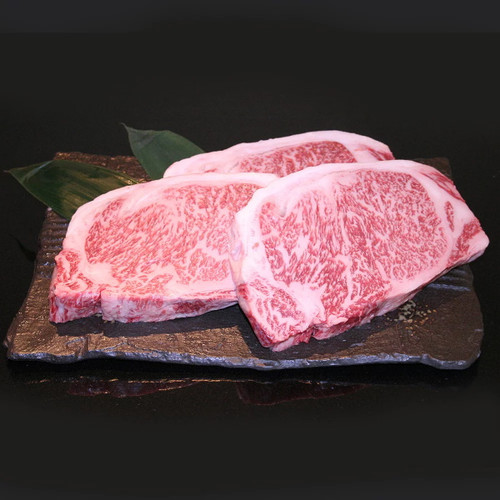 Wagyu striploin steak sliced