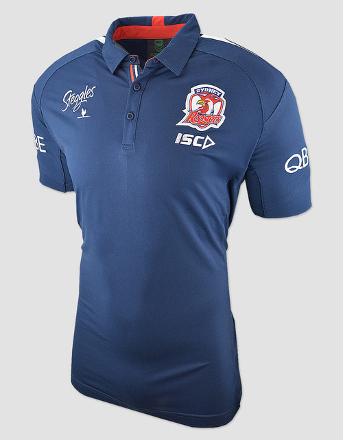 Sydney Roosters 2018 Kids Media Polo - Navy/Red