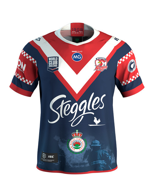 Sydney Roosters 2020 ISC Mens NSW Rural Fire Service Limited Edition World Club Challenge Fundraising Jersey