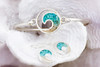 Dune Sand Sterling Silver Wave with GRADIENT TURQUOISE Bracelet - You Pick the Sand! Over 3,800 Sands Available