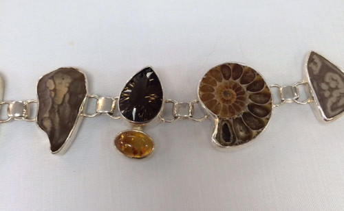 Ammonite Sterling Silver Bracelet