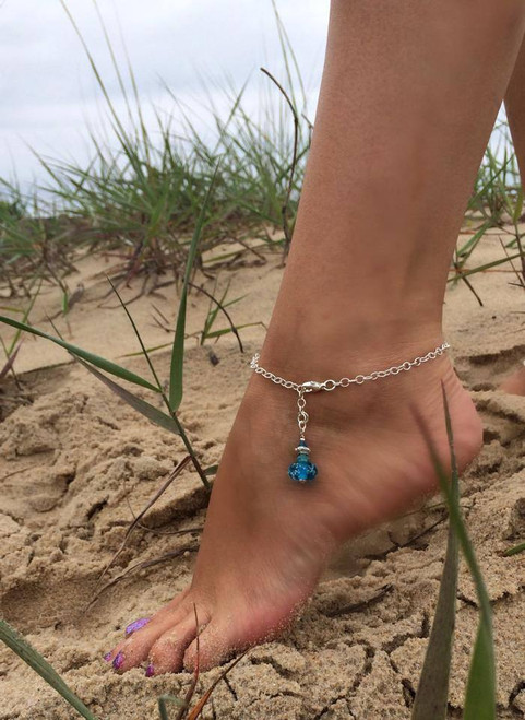 Delaware Beaches® Sand Encased Anklet with Adjustable Link Chain