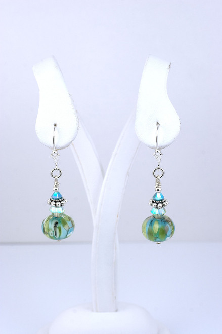 Floridian Memories Glass Bead and Sterling Earrings with No Charms