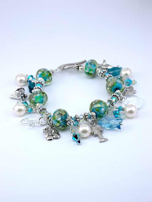Floridian Memories Glass Large Five Charm Bracelet with Crystals