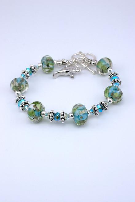Floridian Memories Glass Six Bead Bracelet with Manatee Charm