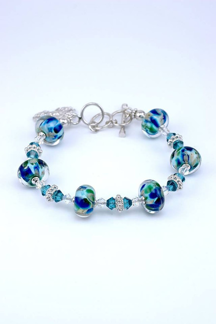 Eastern Shore Glass Six Bead Bracelet with Crab Charm