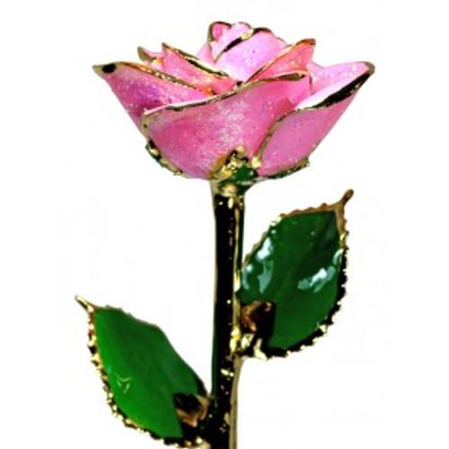 """""""Blush You"""" Light Pink Sparkle Rose Trimmed in 24kt Gold"""