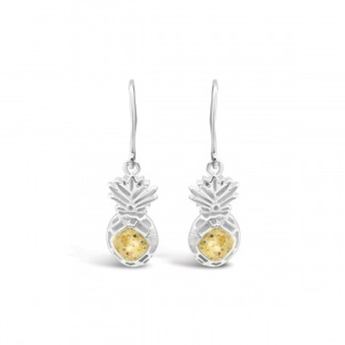 Dune Sand Sterling Silver Pineapple Drop Earrings - You Pick the Sand! Over 3,800 Sands Available
