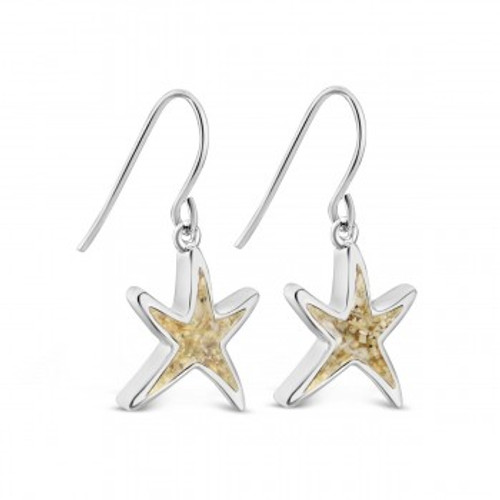 Dune Sterling Silver Delicate Starfish Drop Earrings