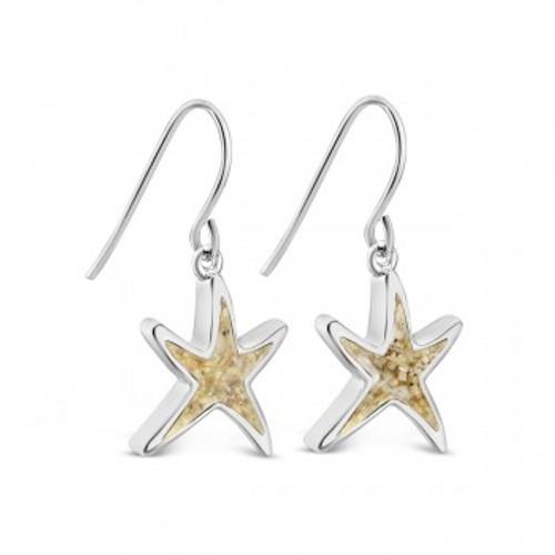 Dune Sterling Silver Delicate Starfish Drop Earrings