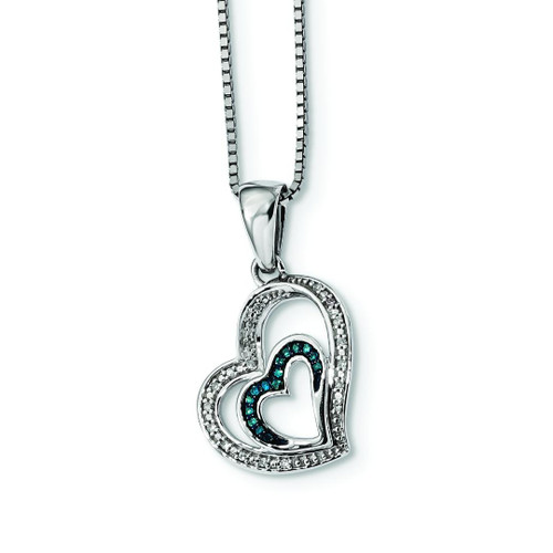 Blue and White Diamond Double Heart Pendant - Special
