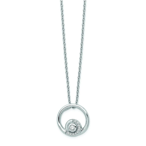 Blue Topaz and Diamond Open Circle Pendant - Special