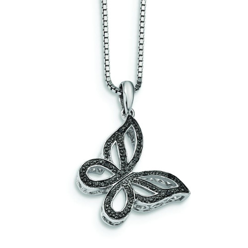 Black and White Diamond Butterfly Pendant - Holiday Special