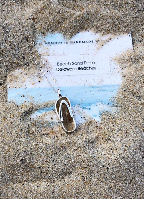 DELAWARE BEACHES® Sterling Silver Flip Flop Dune Sand Necklace  - IN STOCK