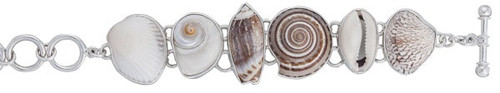 Sterling Silver Multi-Shell Beach-Inspired Bracelet