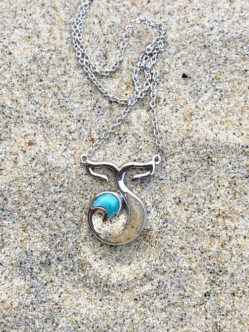 """Blue Dune Sterling Silver """"Forever Fins"""" Sand Necklace - YOU PICK THE SAND"""