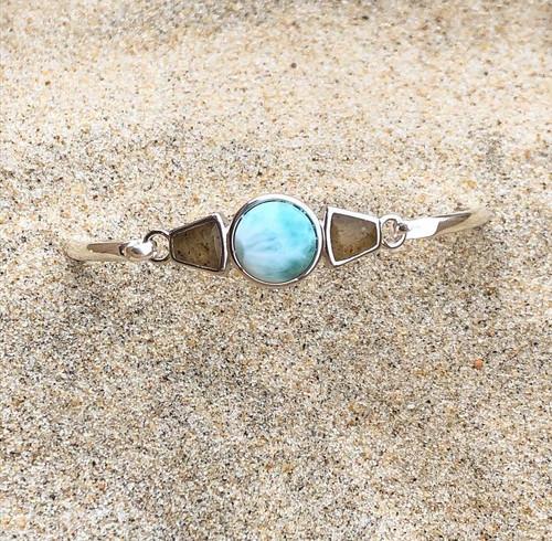 Blue® DELAWARE BEACHES® Sterling Silver Modern Metal Bracelet Larimar and Sand  - IN STOCK