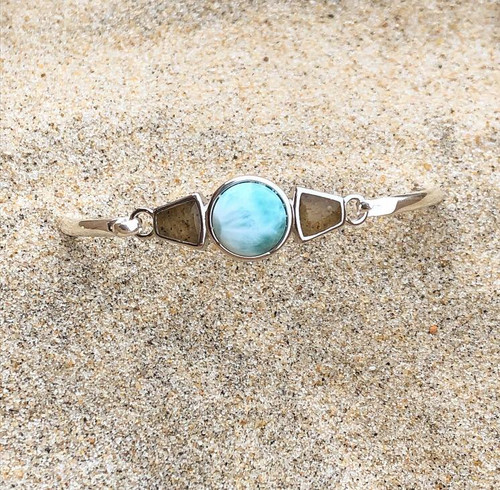 Blue® DELAWARE BEACHES® Sterling Silver Modern Metal Bracelet Larimar and Sand  - IN STOCK