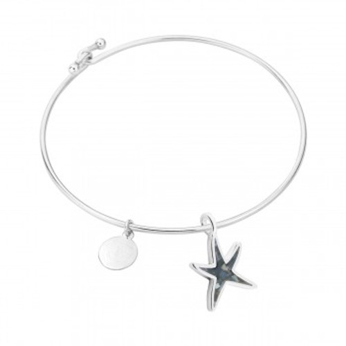 Dune Sand Sterling Silver Delicate Starfish Bangle - You Pick the Sand! Over 3,800 Sands Available