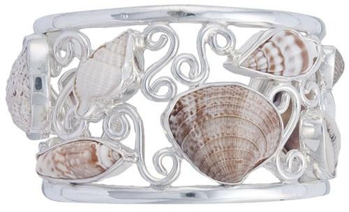 Sterling Silver Multi-Shell Cuff Bracelet
