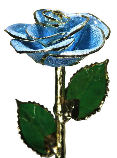 """Fairy Godmother's Wish"" Light Blue Sparkle Rose Trimmed in 24kt Gold"