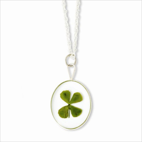 Silver Trim Four Leaf Clover Oval with Silver-plated Chain - SPECIAL