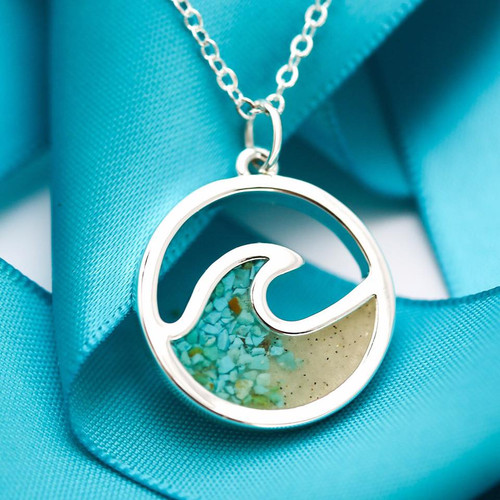 Dune Cresting Wave Gradient Necklace handmade with Turquoise and Beach Sand