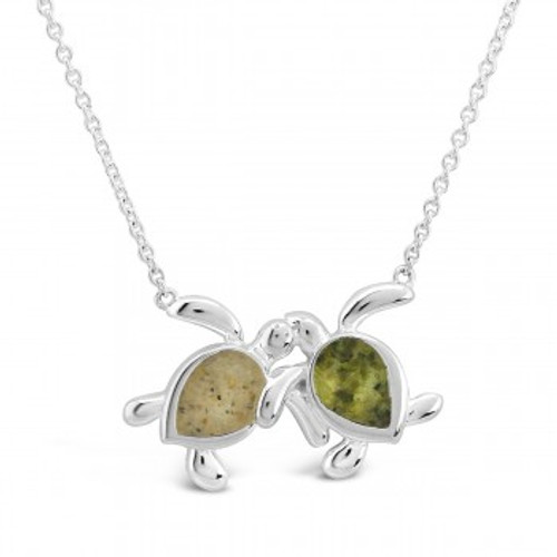 Dune Sterling Silver Best Friends Turtle Necklace (Sand and PowerStone Peridot, Turquoise, etc)