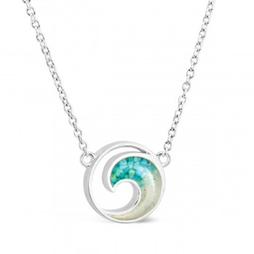 Dune Sand Sterling Silver Wave with GRADIENT TURQUOISE Necklace - You Pick the Sand! Over 3,800 Sands Available