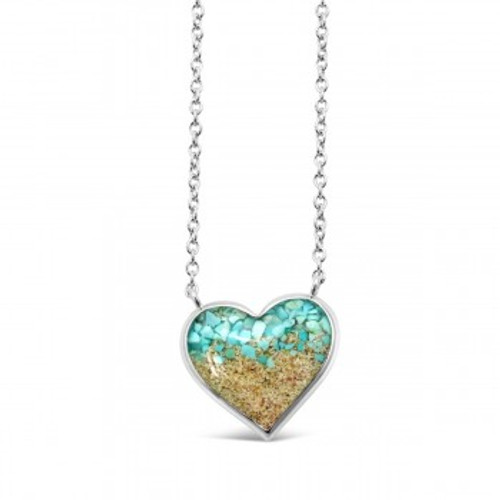 Dune Sand Sterling Silver Stationary Heart with GRADIENT TURQUOISE Necklace - You Pick the Sand! Over 3,800 Sands Available