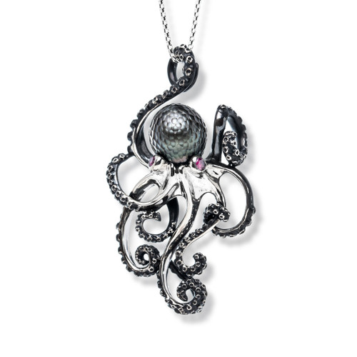Octopus Pendant with Black Tahitian Pearl and Rubies