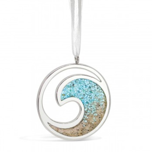 Turquoise and Sand Dune Silver Wave NO ENGRAVING Ornament