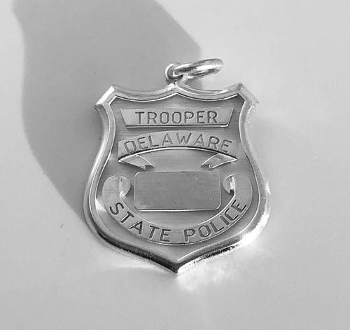 Delaware State Police Sterling Silver Police Badge Pendant